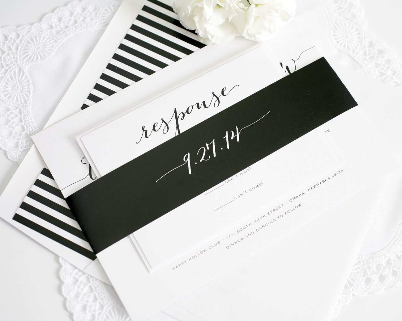 Classic Black and White Striped Wedding Invitations
