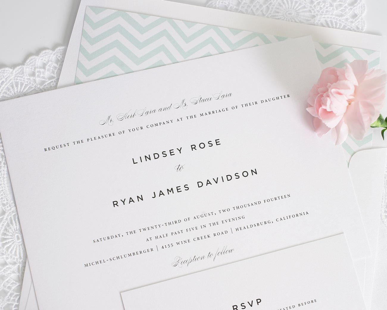 classic wedding invitations in mint