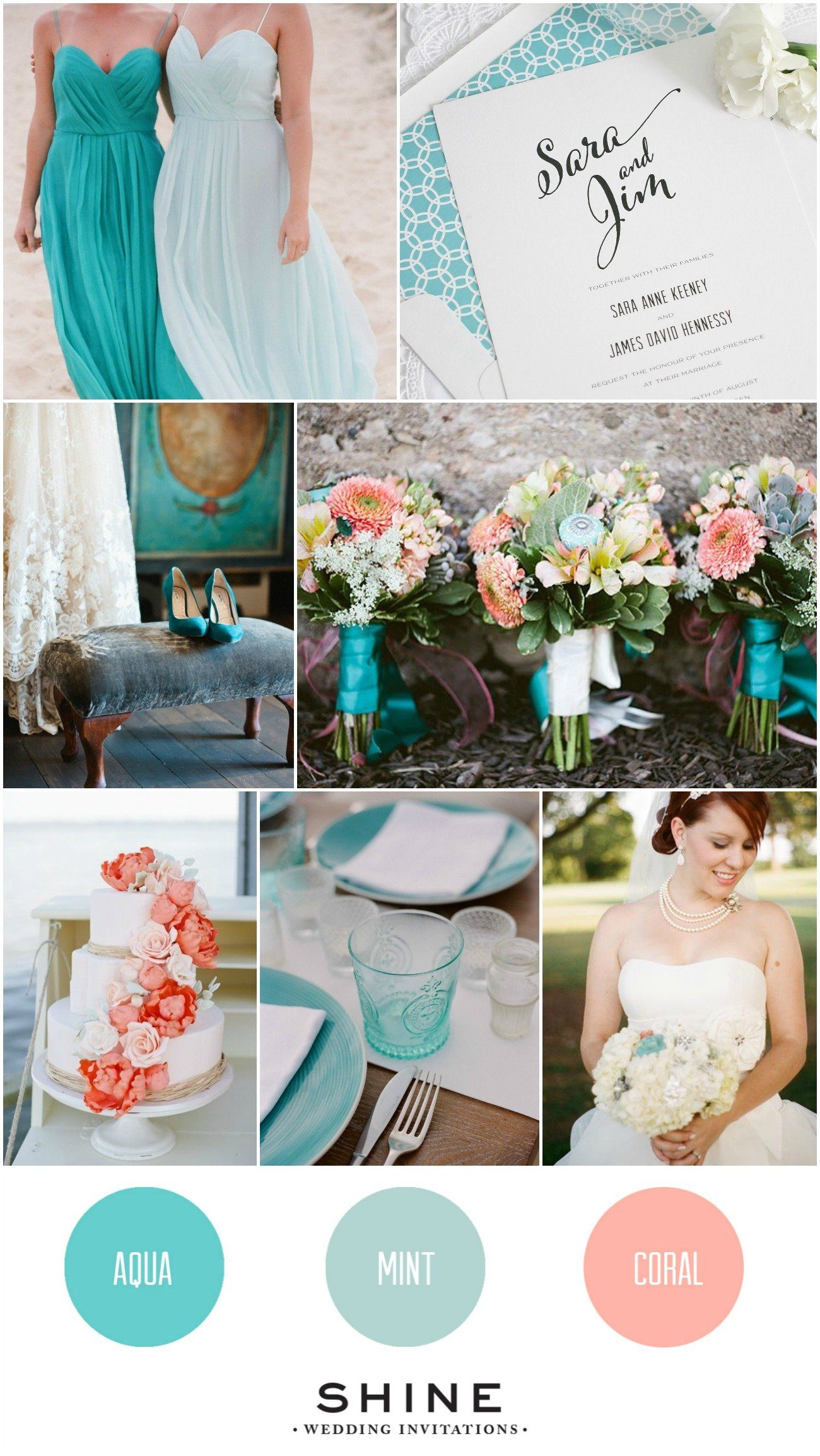 Aqua Coral Mint Wedding Inspiration Wedding Invitations