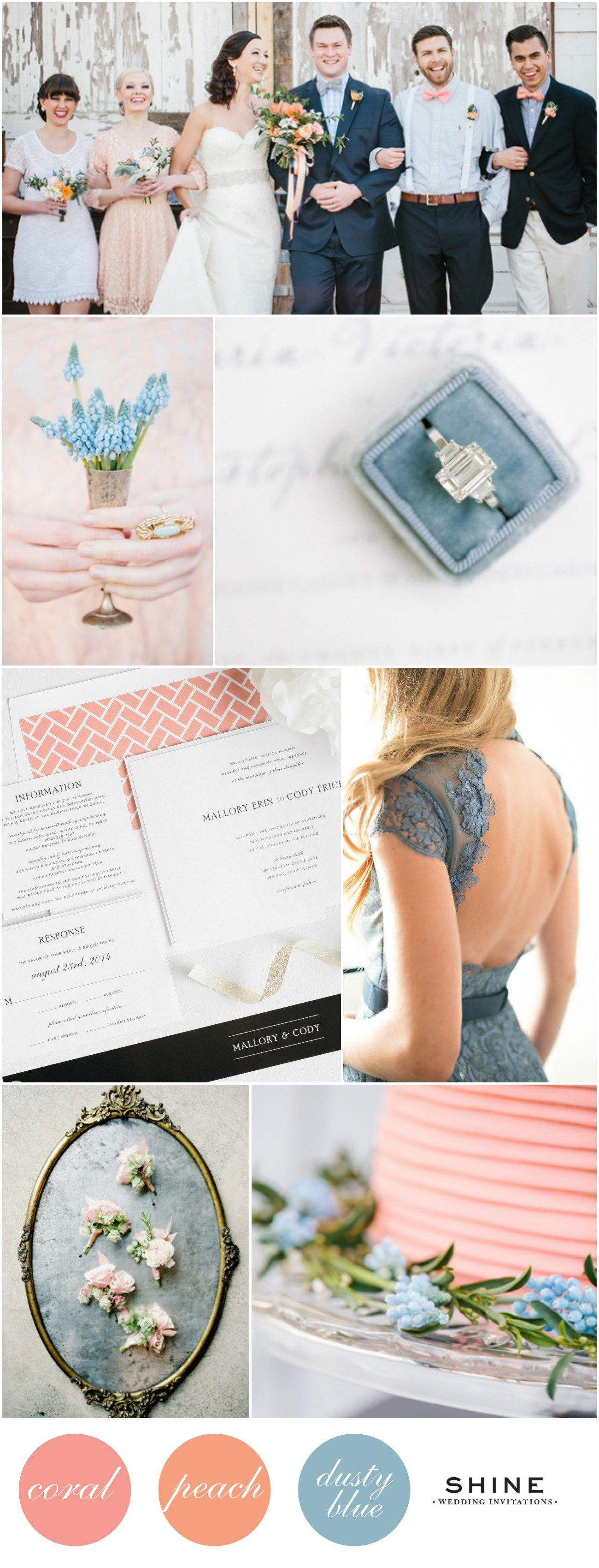 Coral, Peach, and Dusty Blue Wedding Inspiration