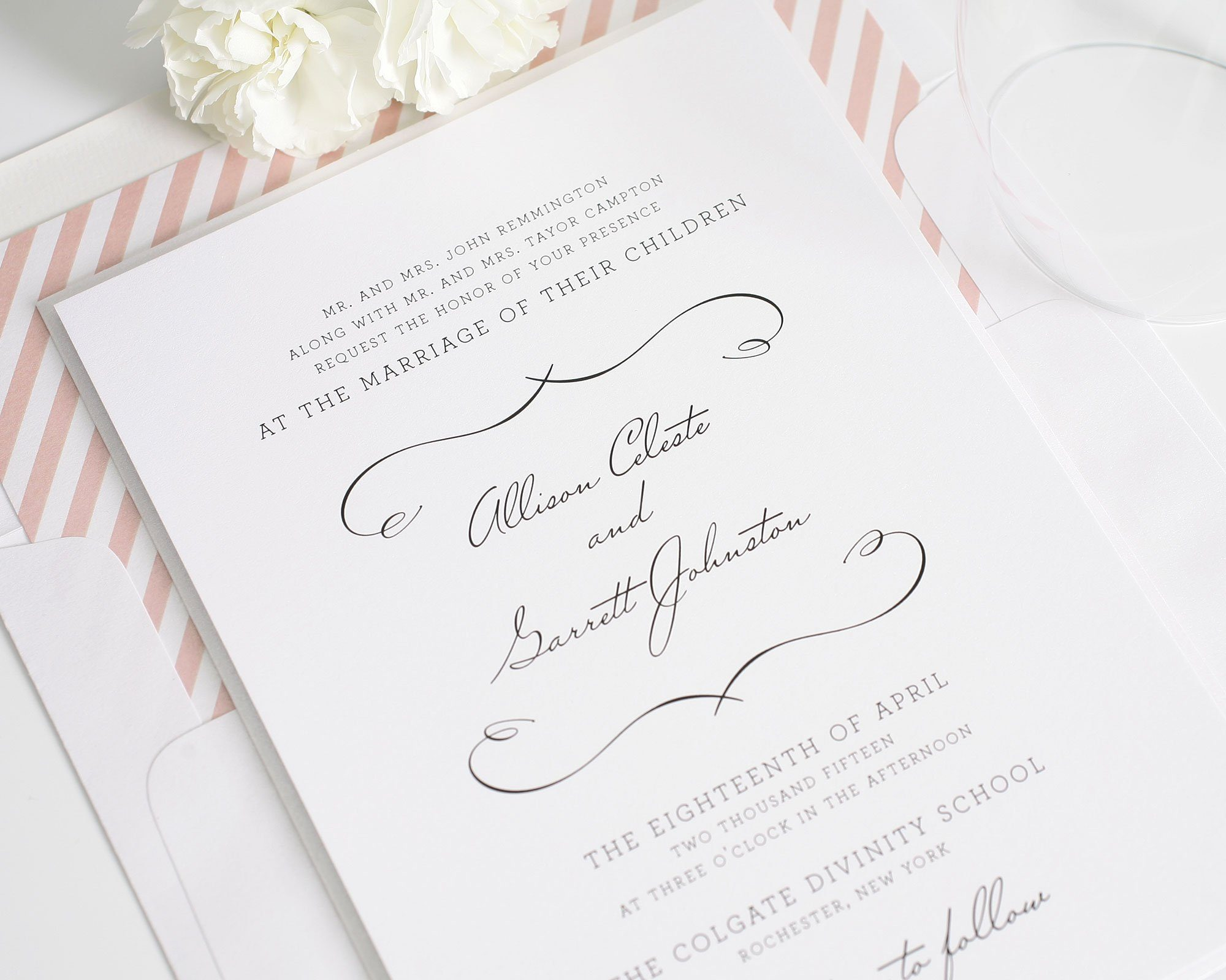 Country Chic wedding invitations in blush