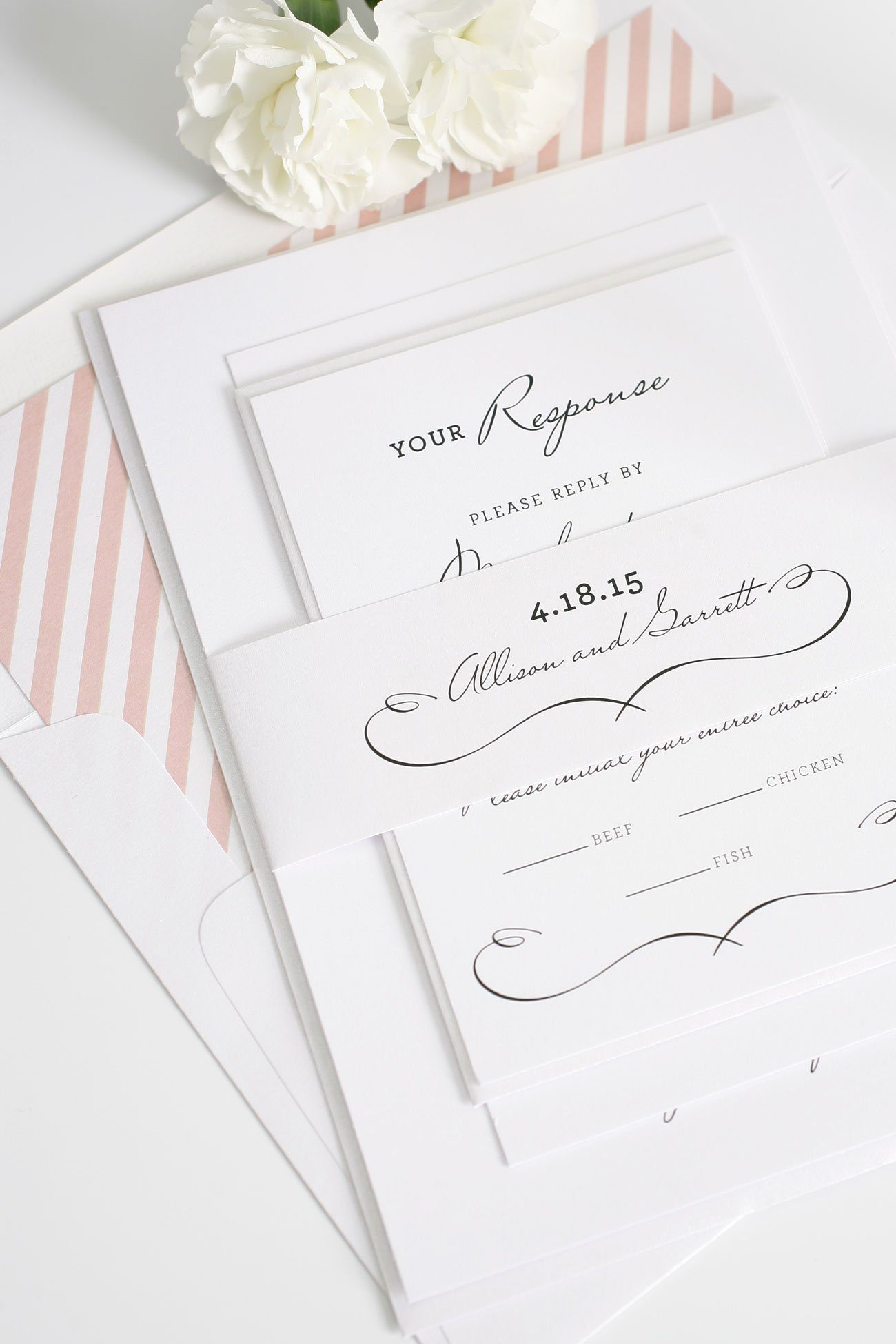 Chic french wedding invitations in blush pink
