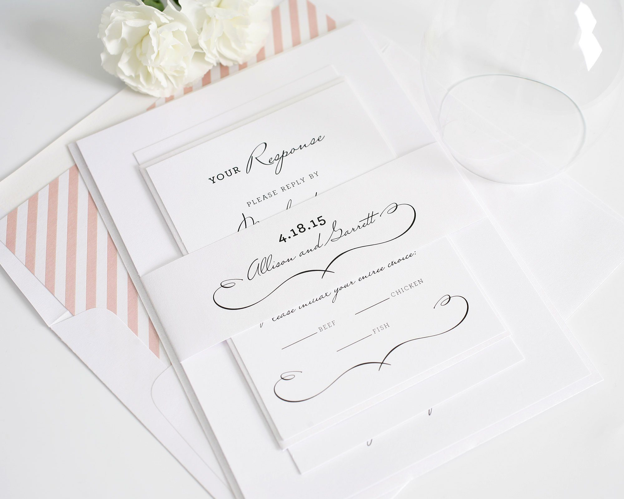 French country wedding invitations in peach