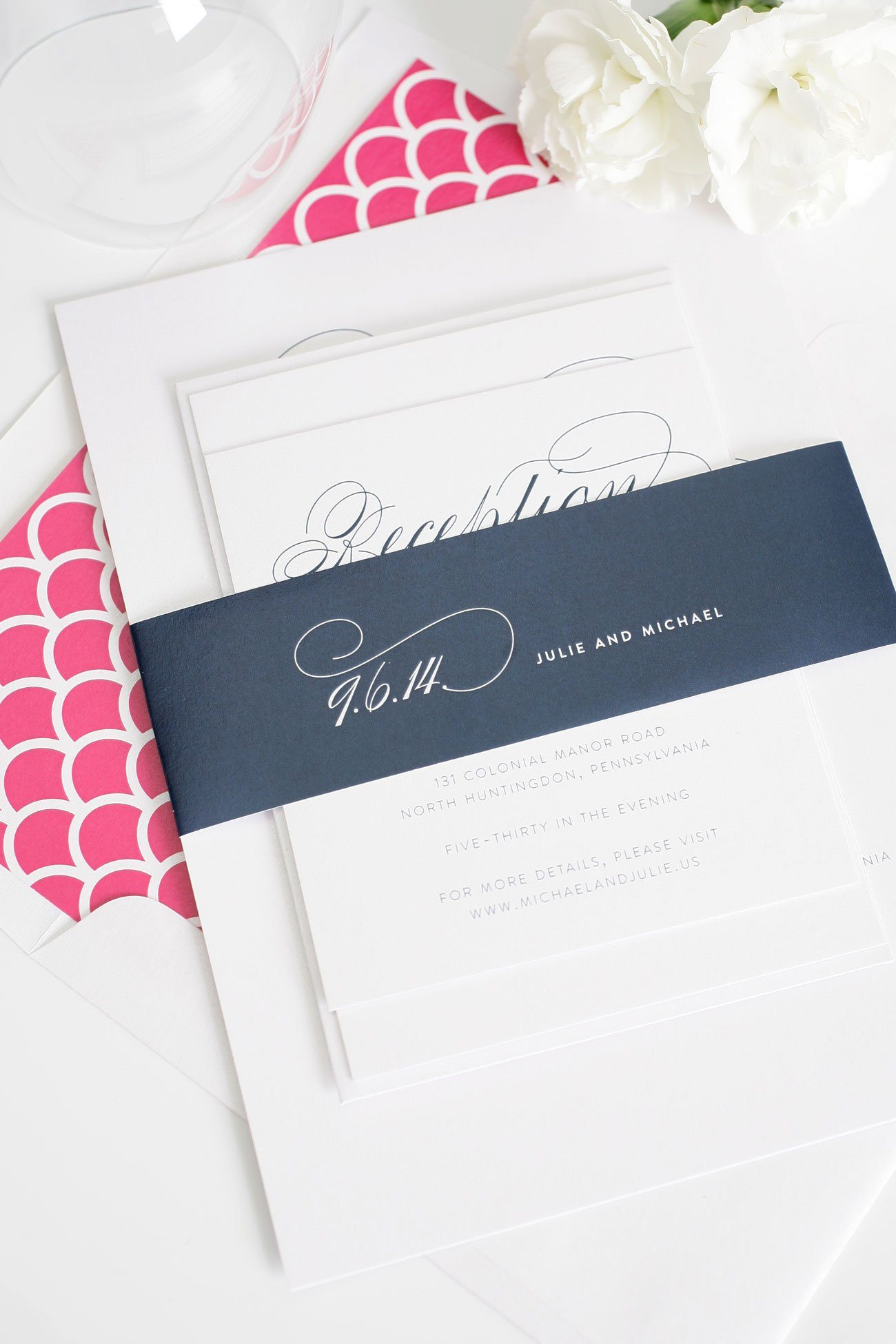 Script wedding invitations in pink and blue