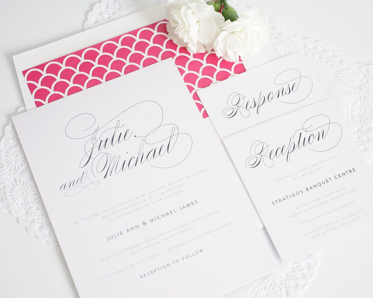Elegant pink and navy wedding invitations