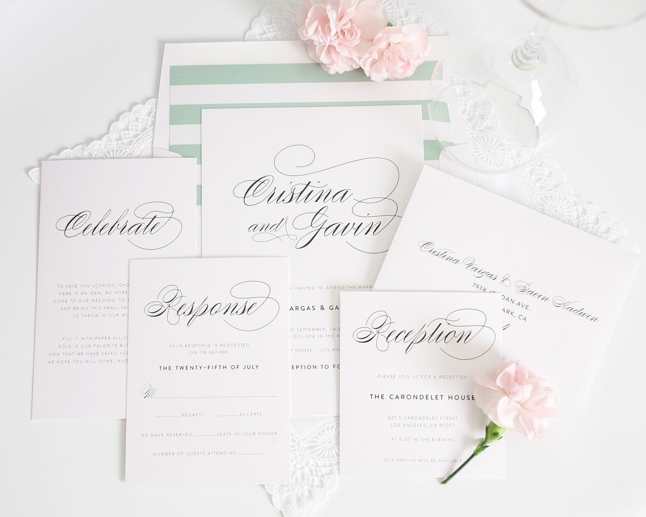 Elegant wedding invitations with jade stripes