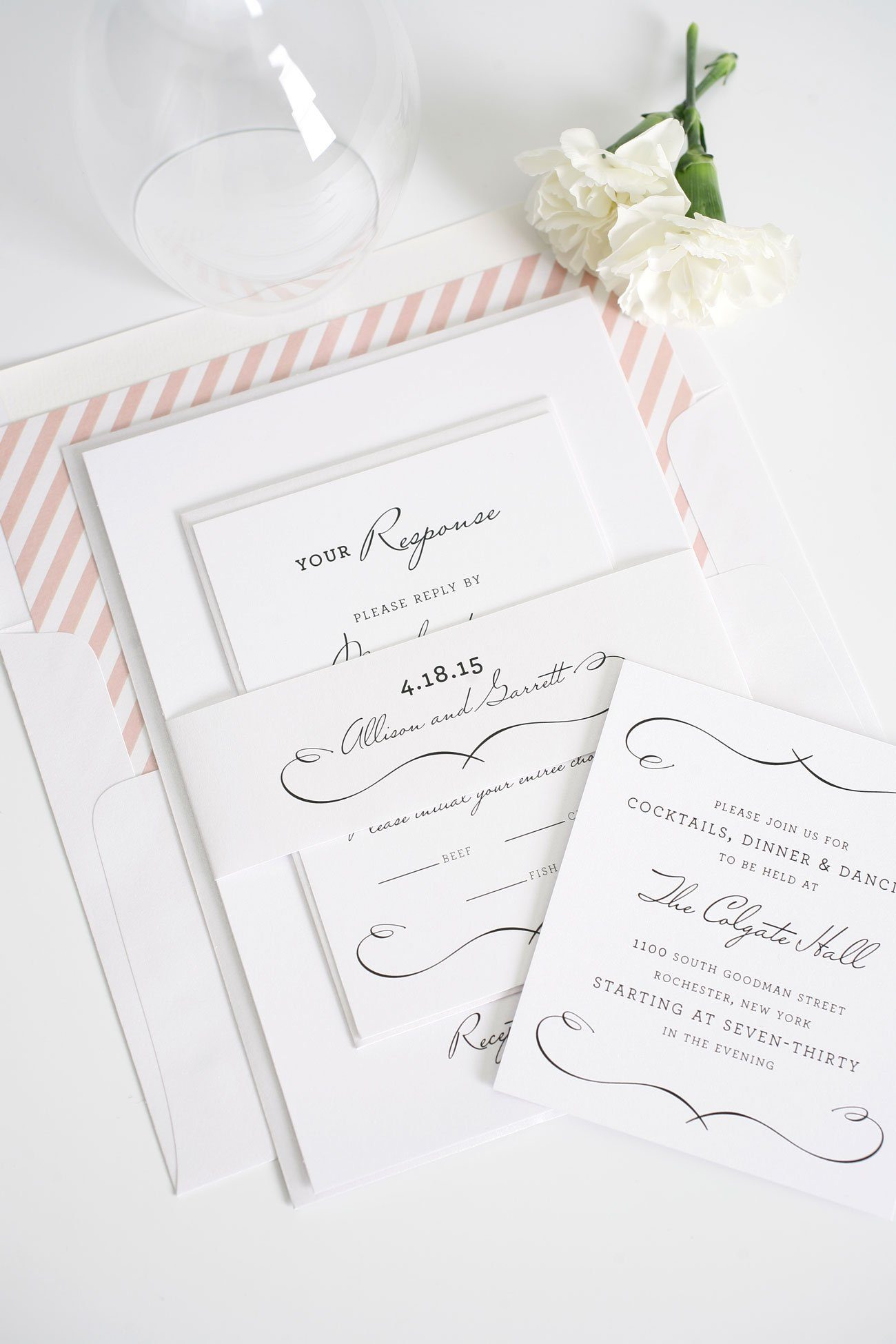 French wedding invitations in blush with stripe accents