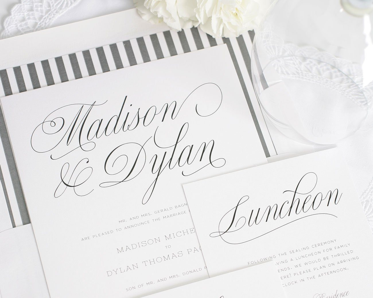 Script wedding invitations in gray