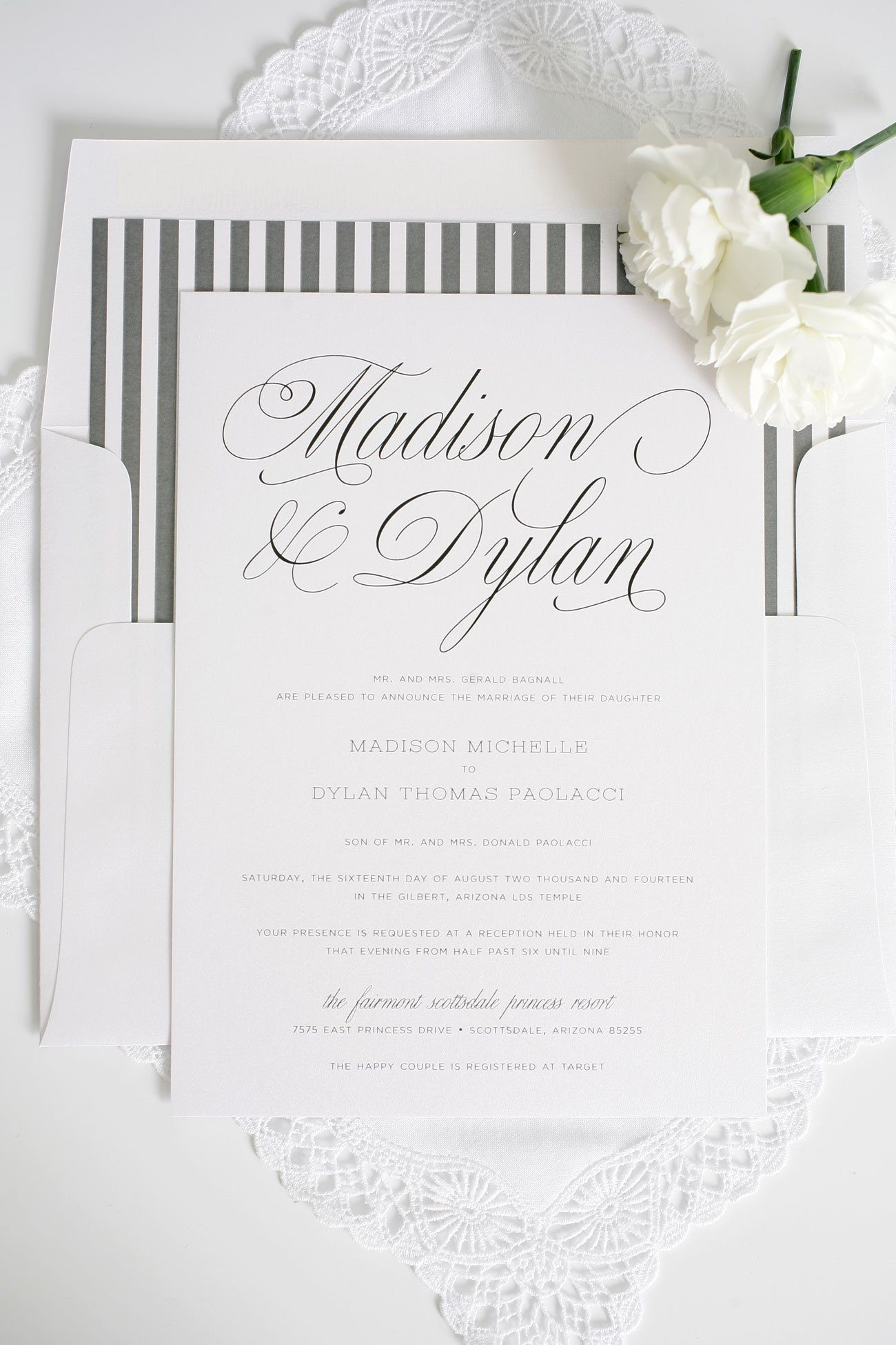 garden script wedding invitations in charcoal gray