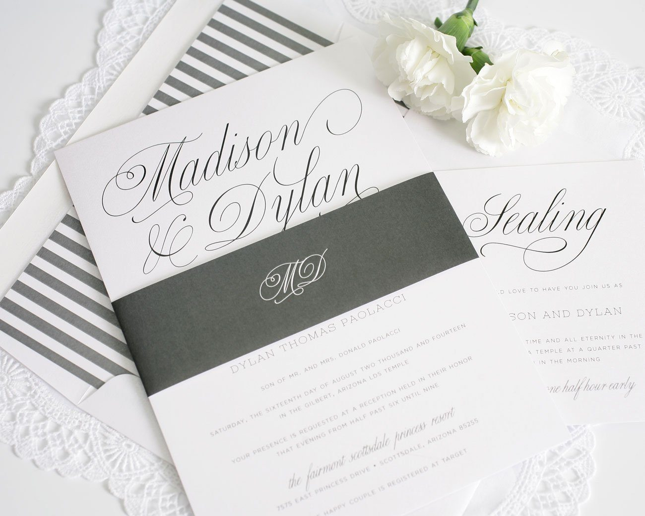 grey stripes wedding invitation with decorative script