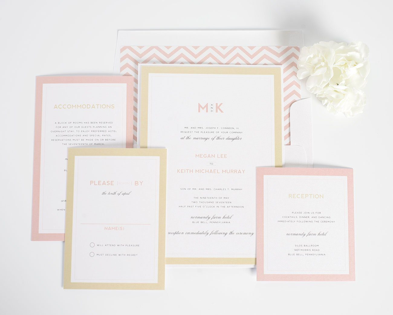 Blush and gold wedding invitations with chevron envelope liner