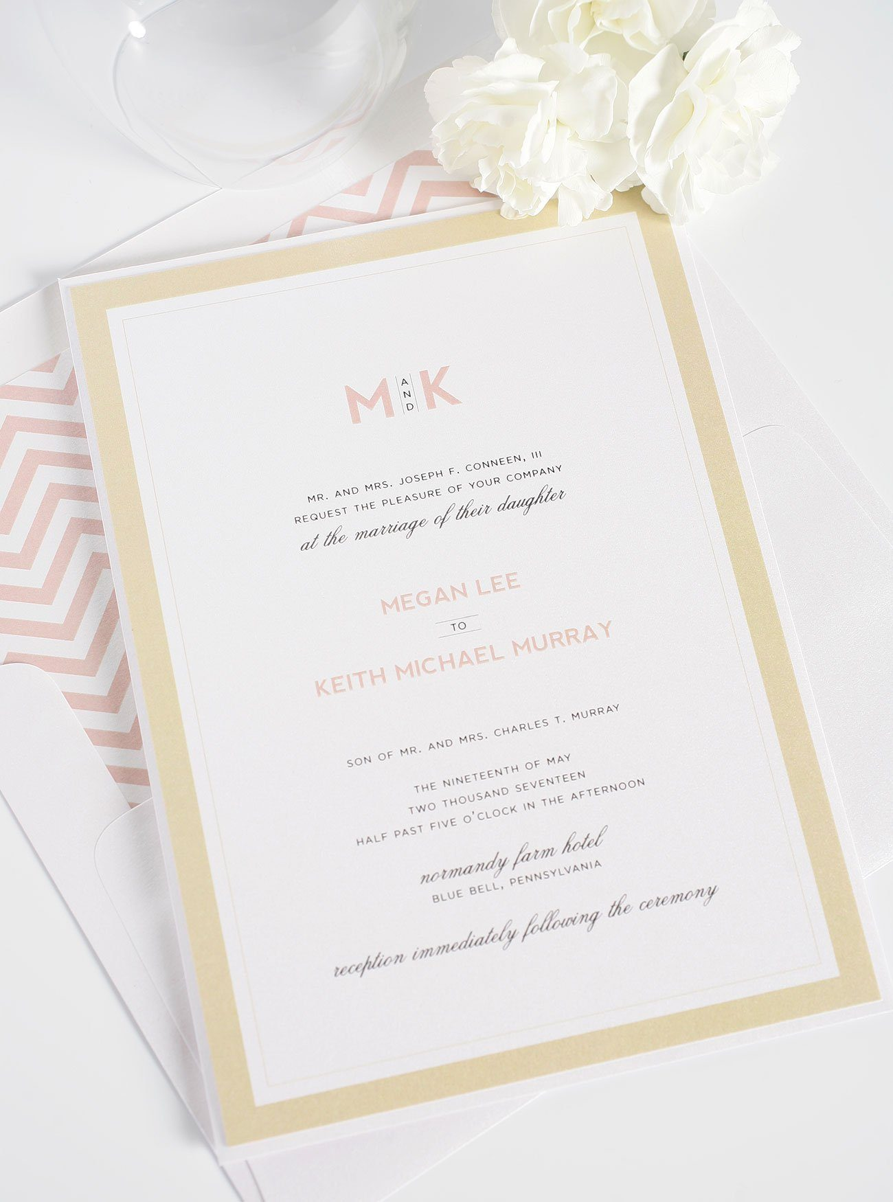 modern wedding invitations in blush and gold  u2013 wedding