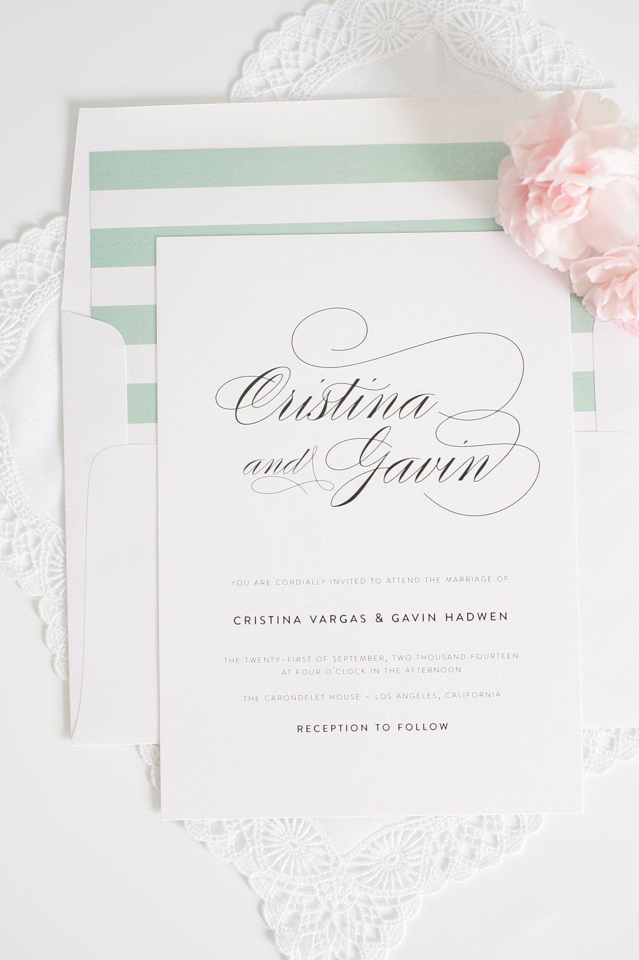 Elegant jade wedding invitations