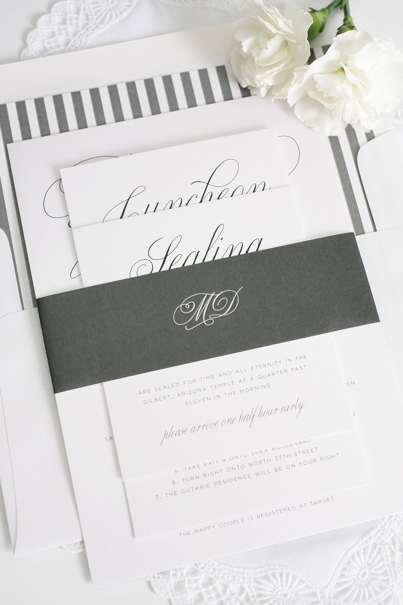 Romantic Wedding Invitations in Charcoal Wedding Invitations – Garden Party Wedding Invitations