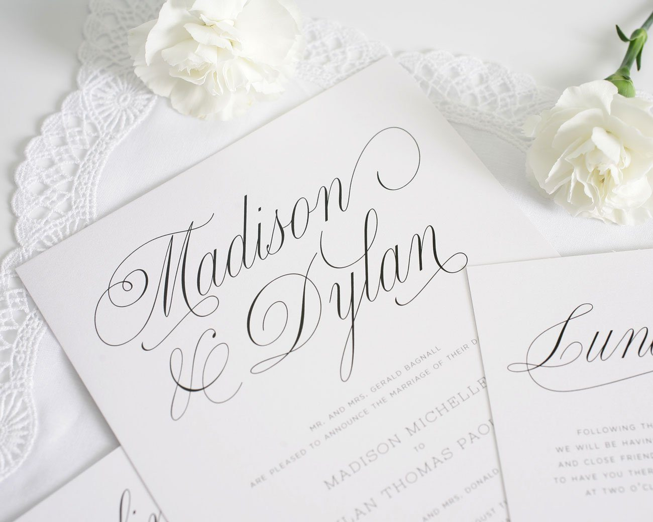 Grey Script Wedding Invitations