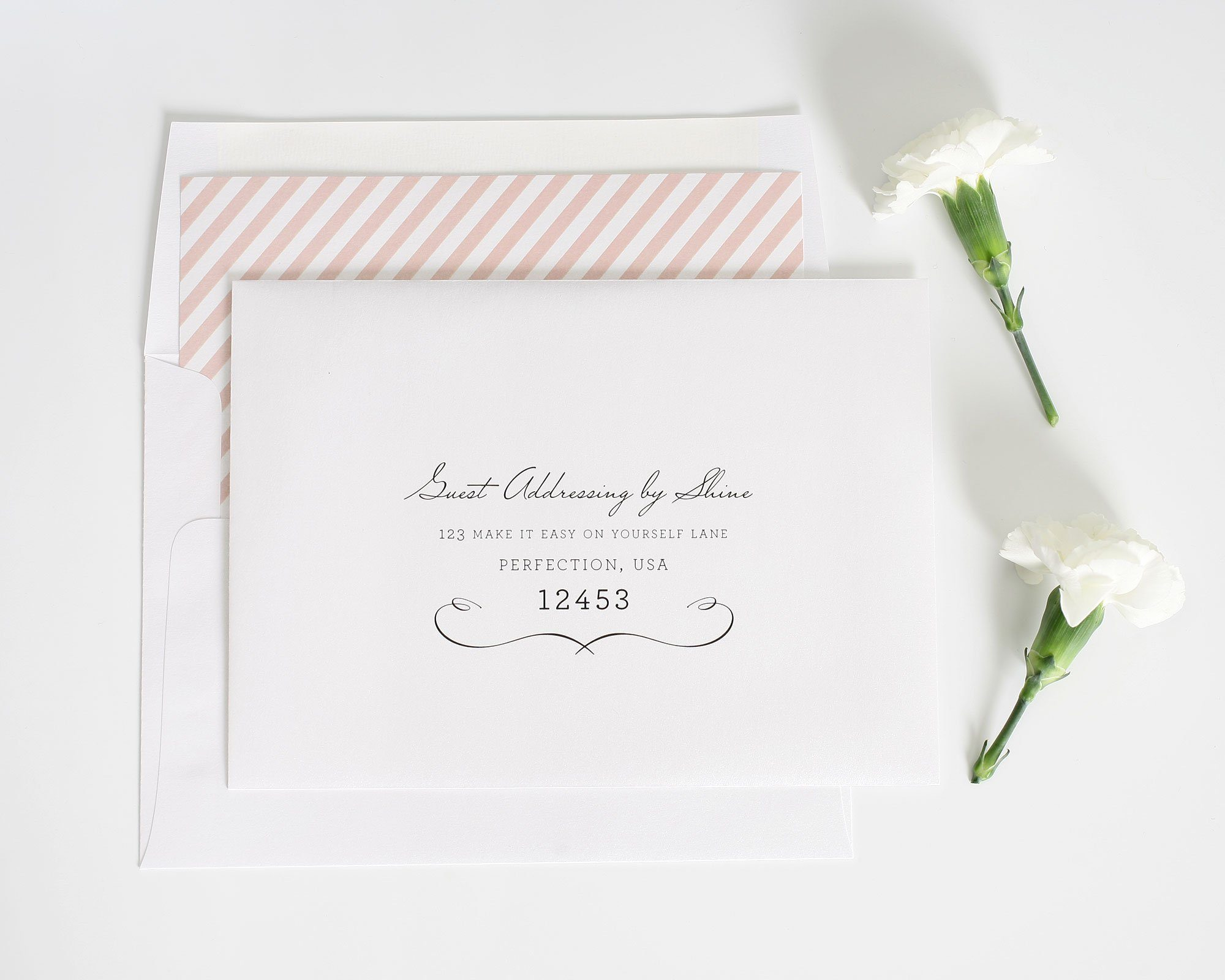 Vintage chic wedding invitations in blush