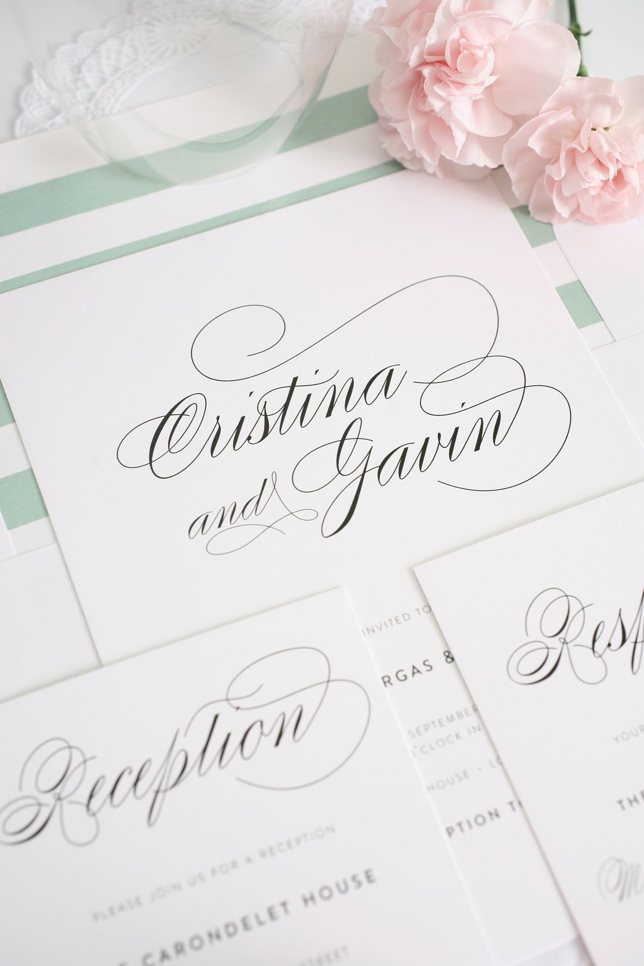 Script wedding invitations in soft jade