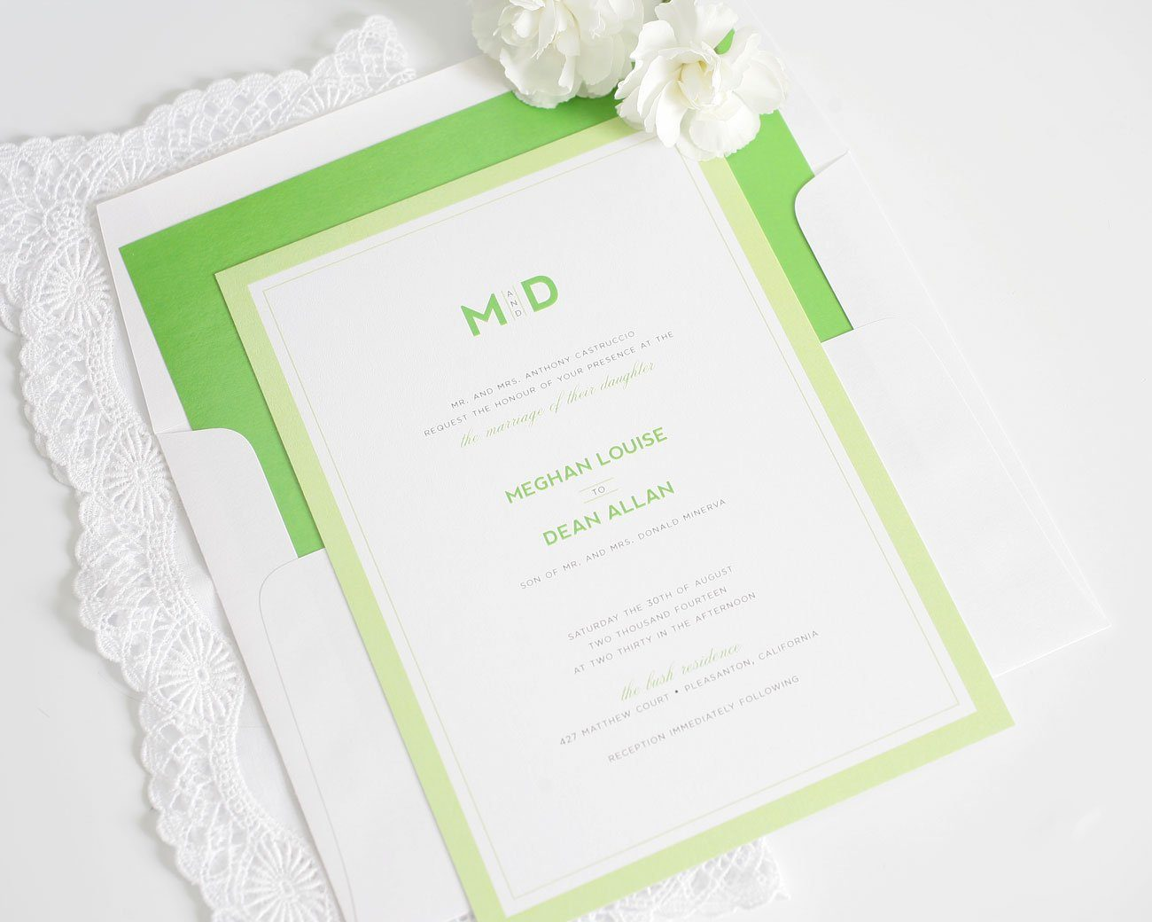 Kelly green modern wedding invitations
