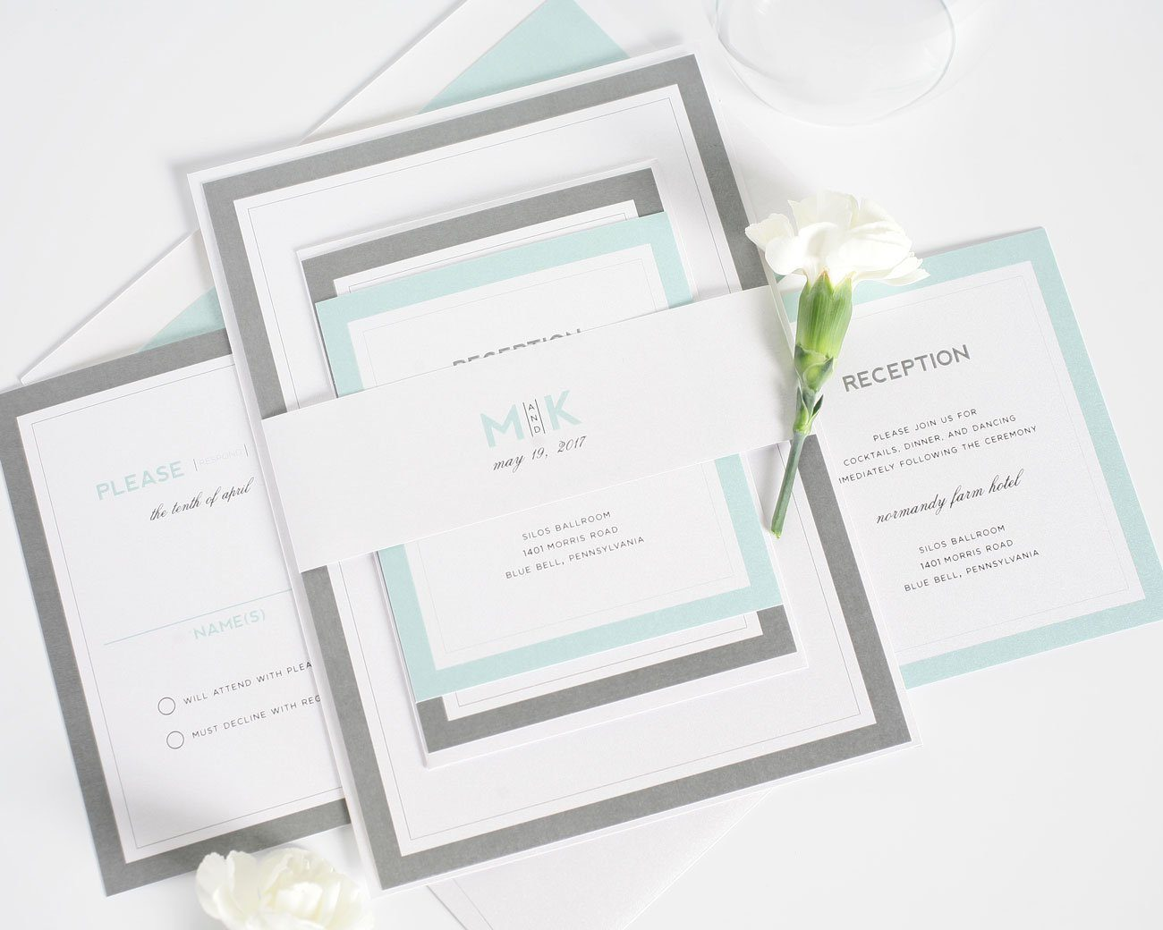 Mint wedding invitations with borders