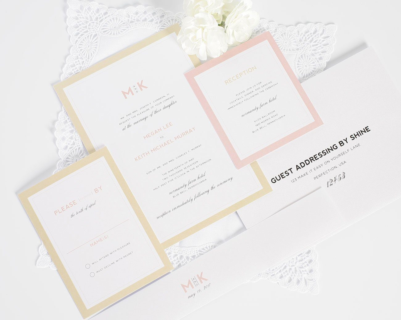 Modern gold and blush wedding invitations