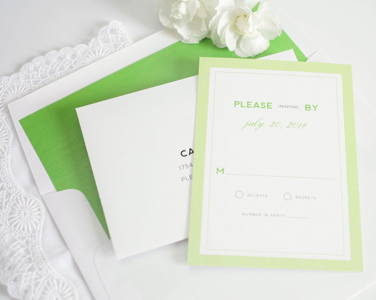 Modern wedding invitations in bright green