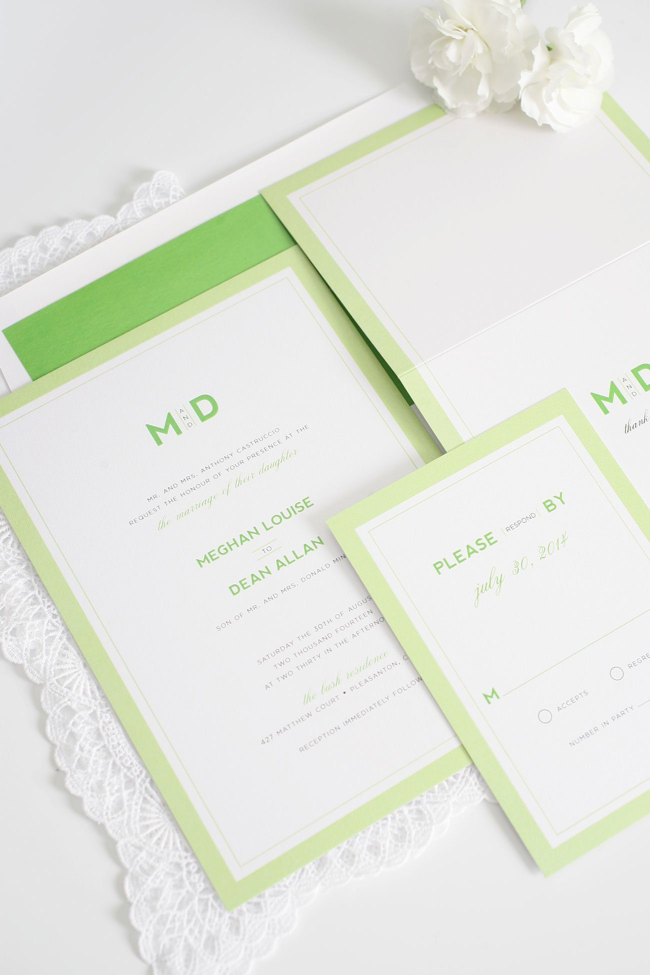 Modern monogram wedding invitations in spring green