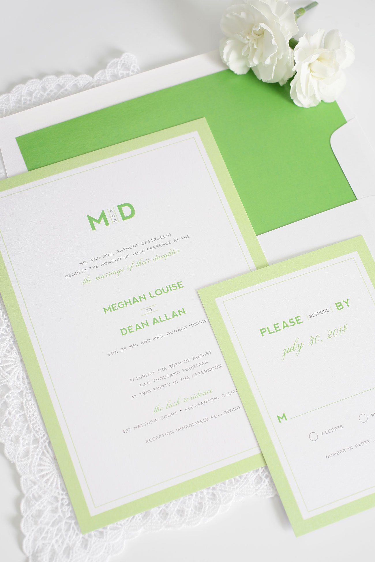 Modern wedding invitations in green