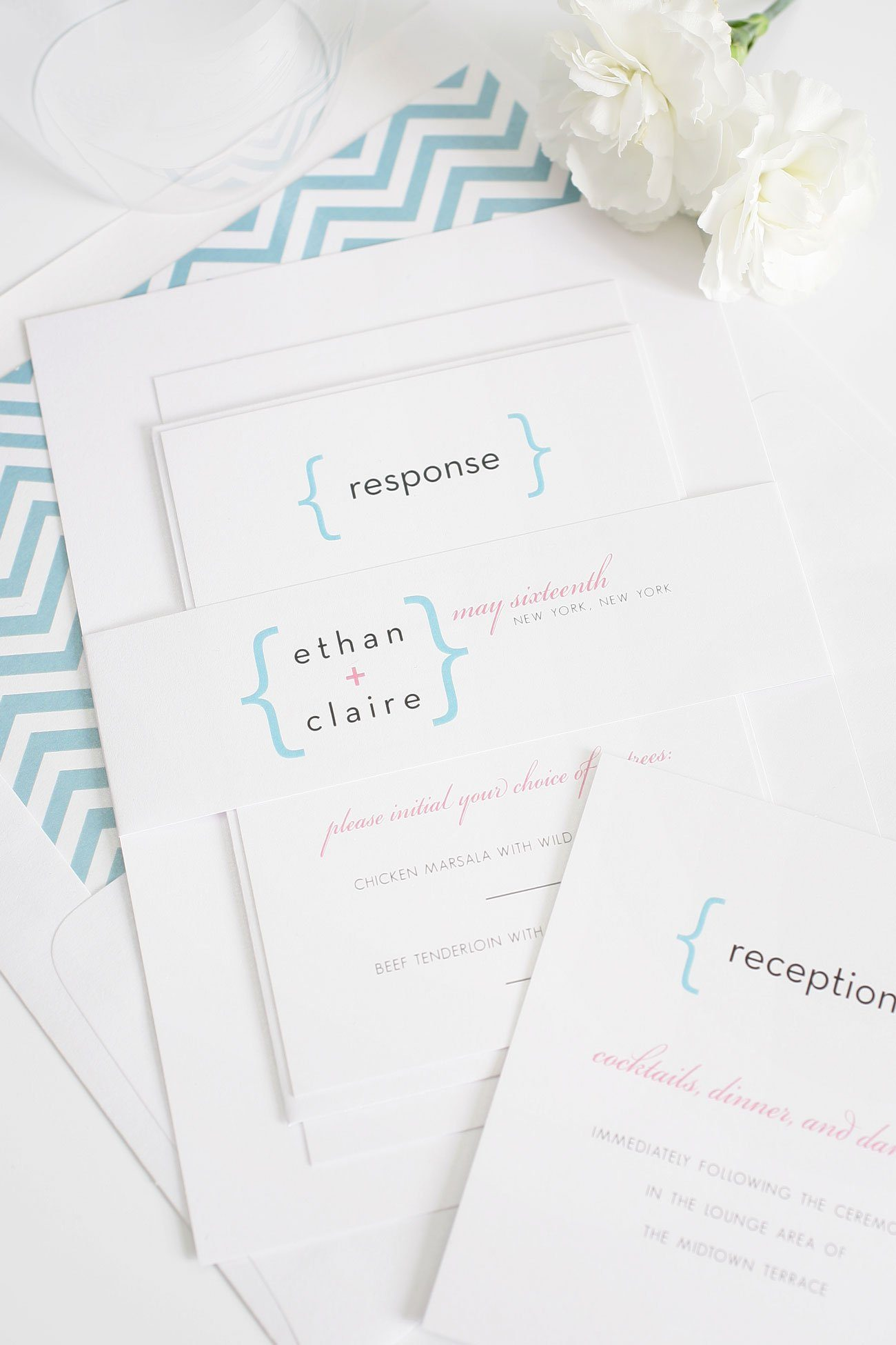 Blue chevron modern wedding invitations with plus sign