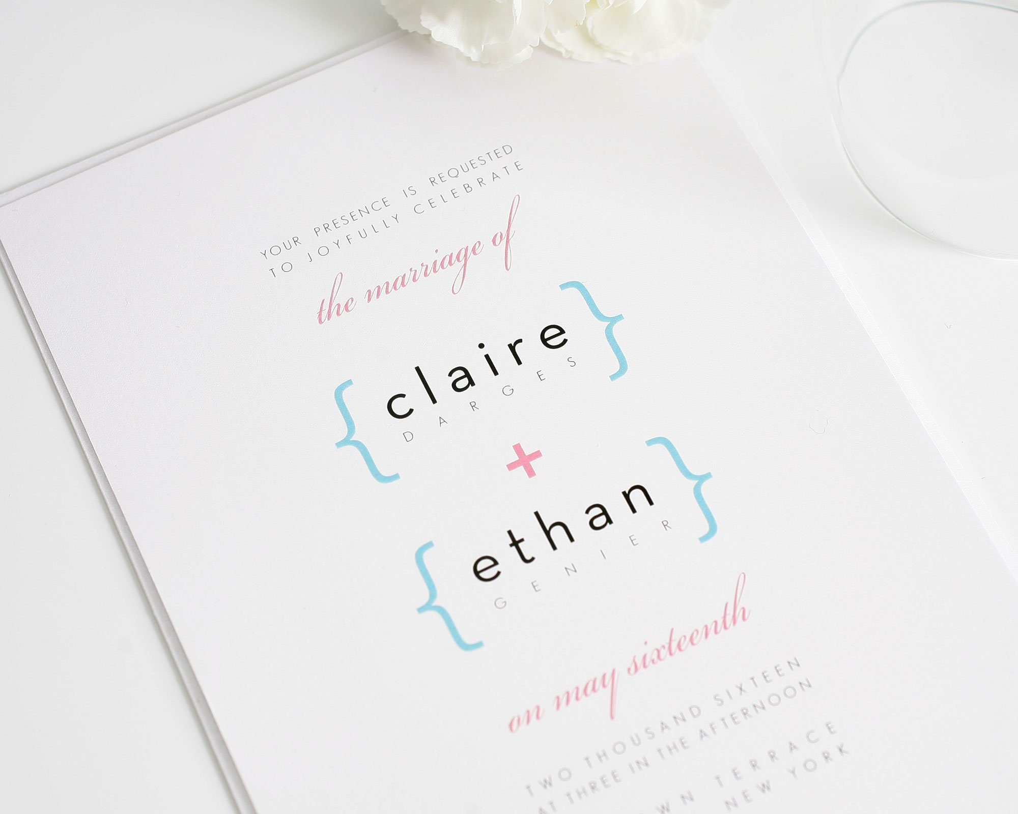 Modern math invitation in blue and hot pink