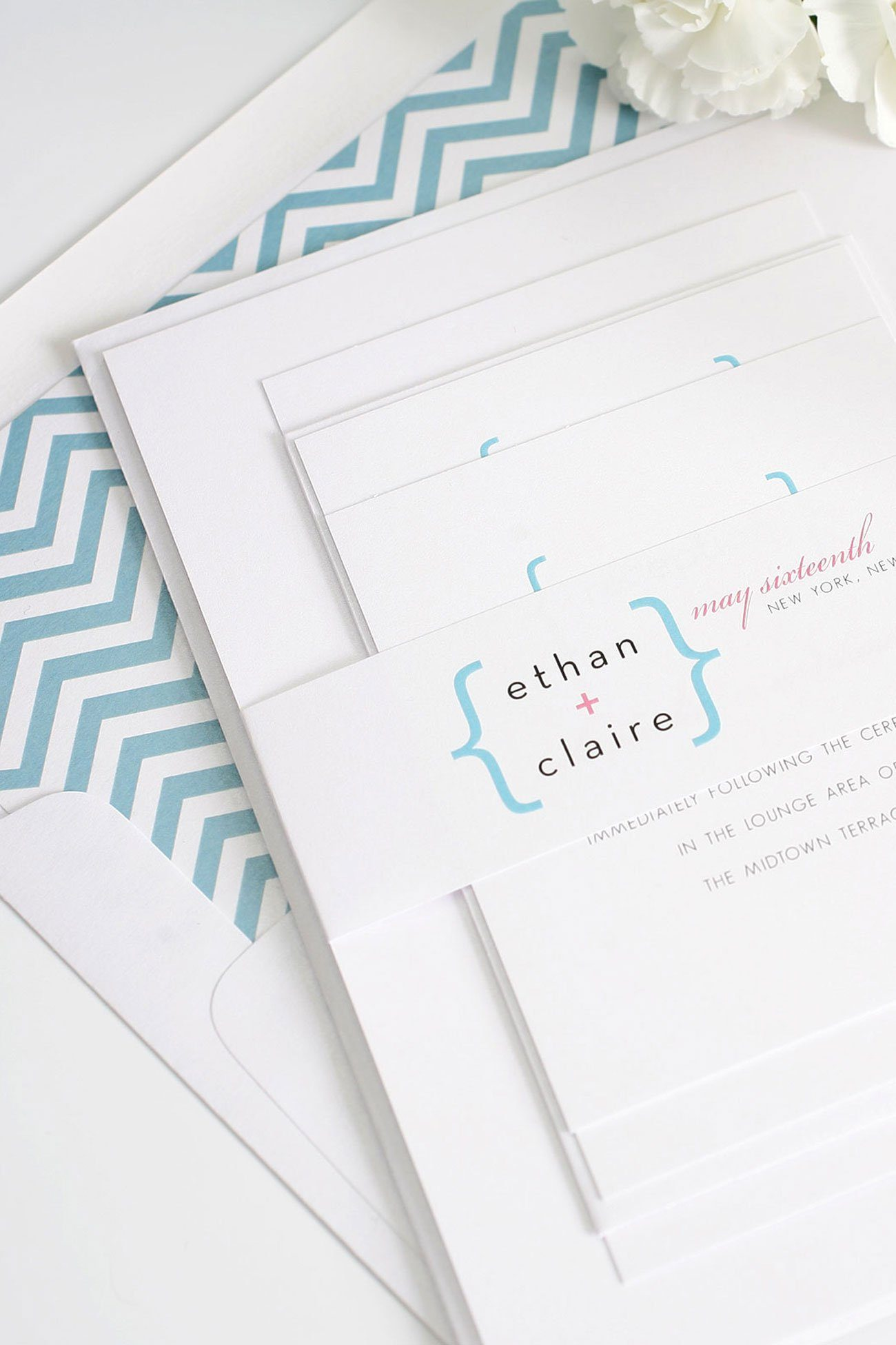 Modern chevron wedding invitations with plus sign