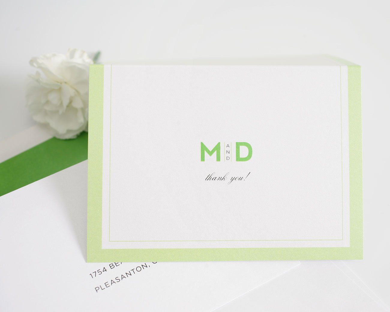 Modern wedding invitations thank you card  in kelly green
