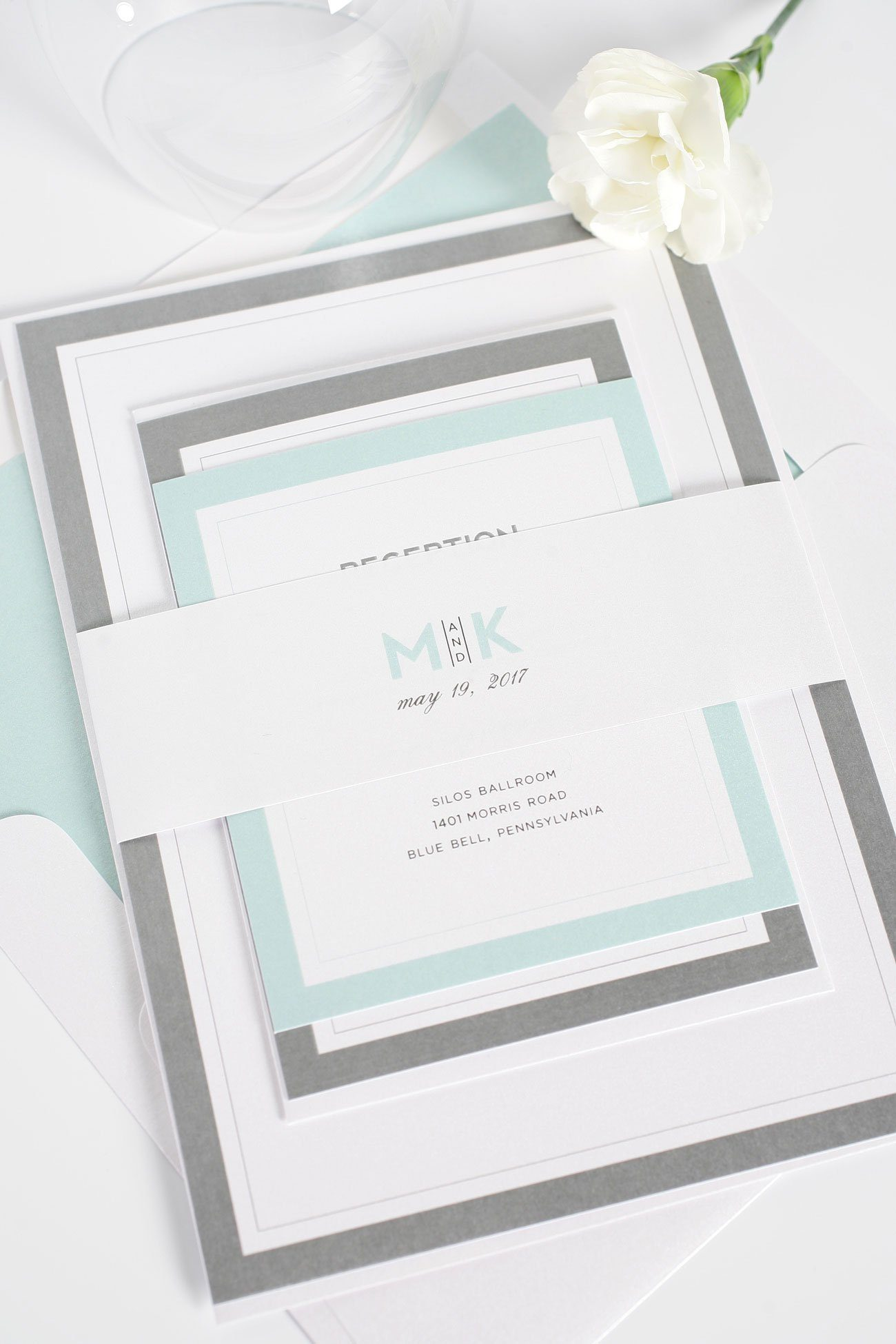 Modern mint wedding invitations