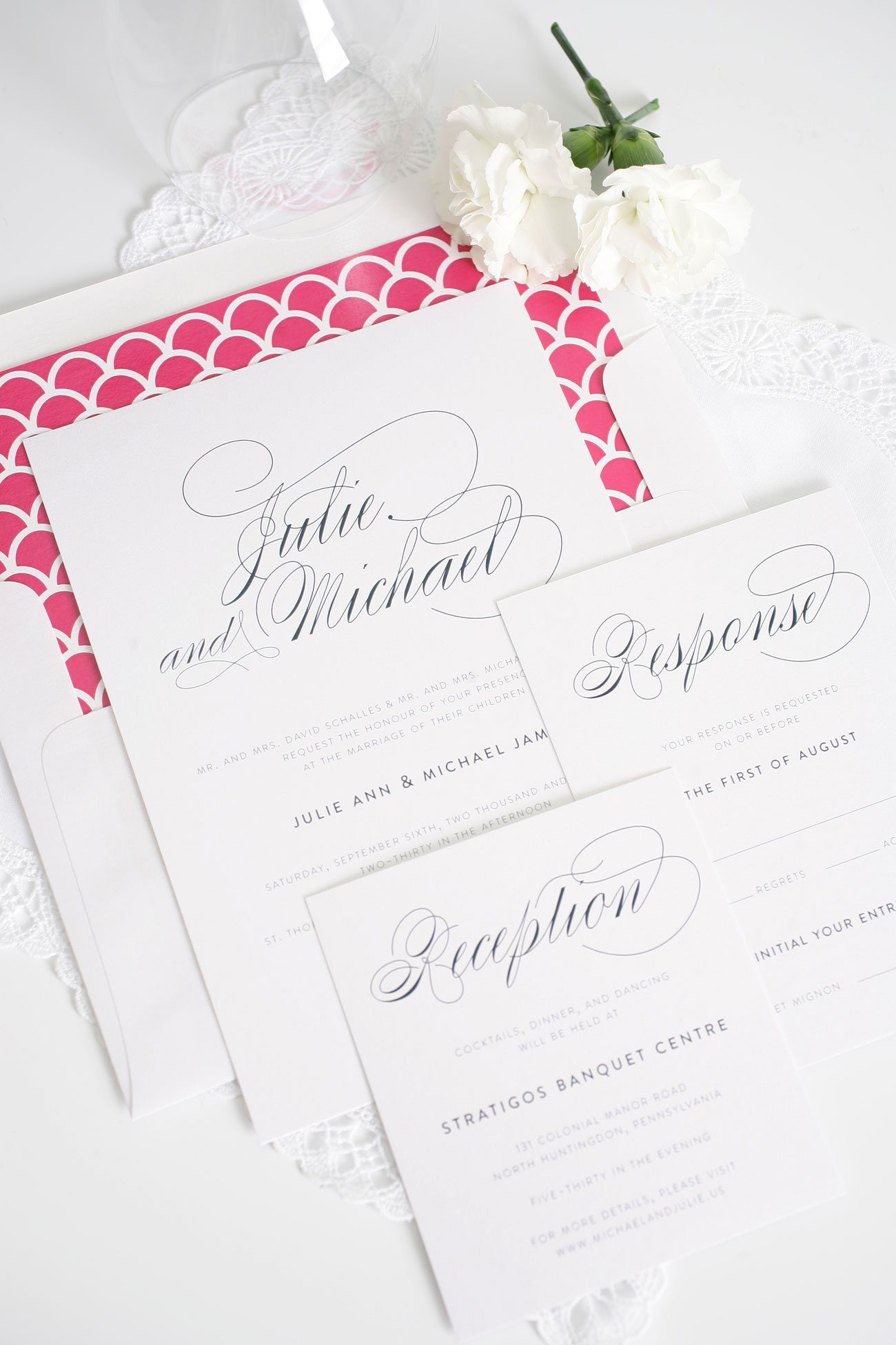 elegant hot pink wedding invitations with scallops
