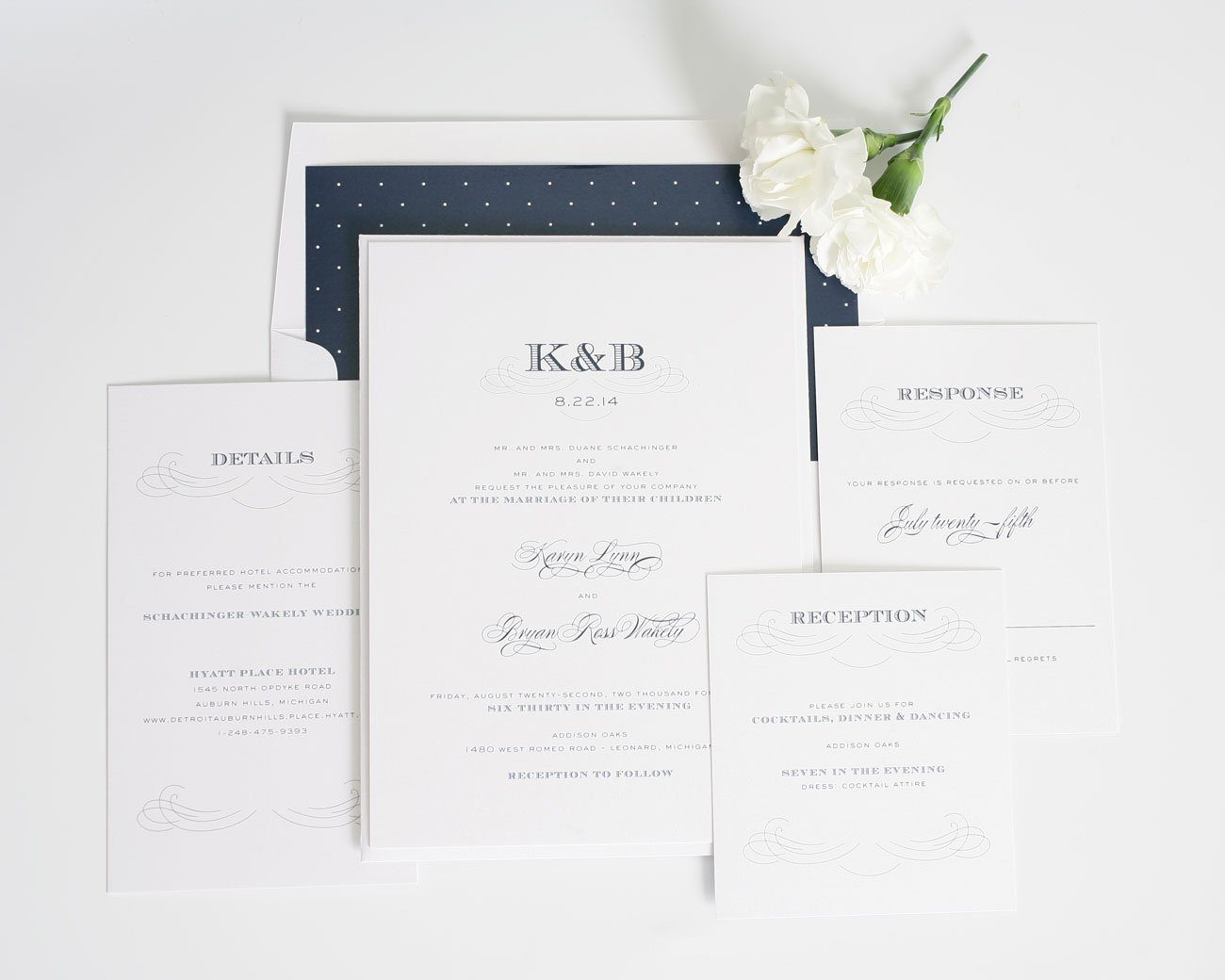 Navy antique wedding invitations with engravers monogram