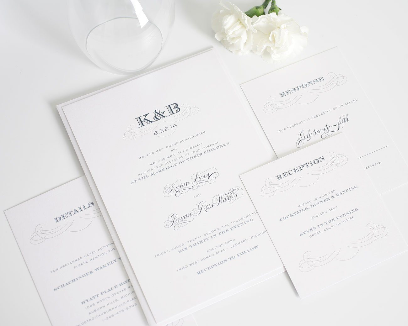 Navy monogram wedding invitations