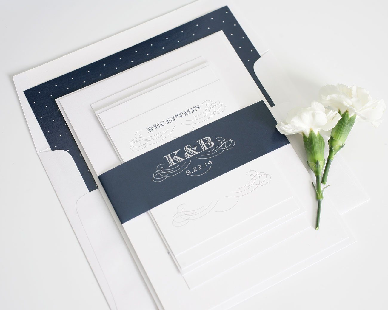 Antique wedding invitations with navy polka dots