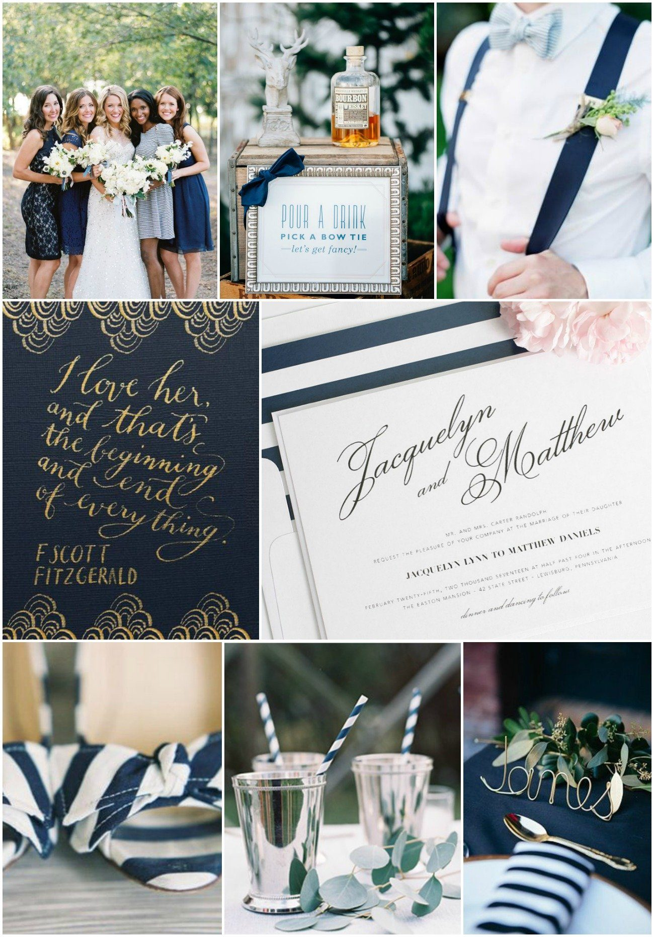 Vintage romance wedding inspiration with navy stripes