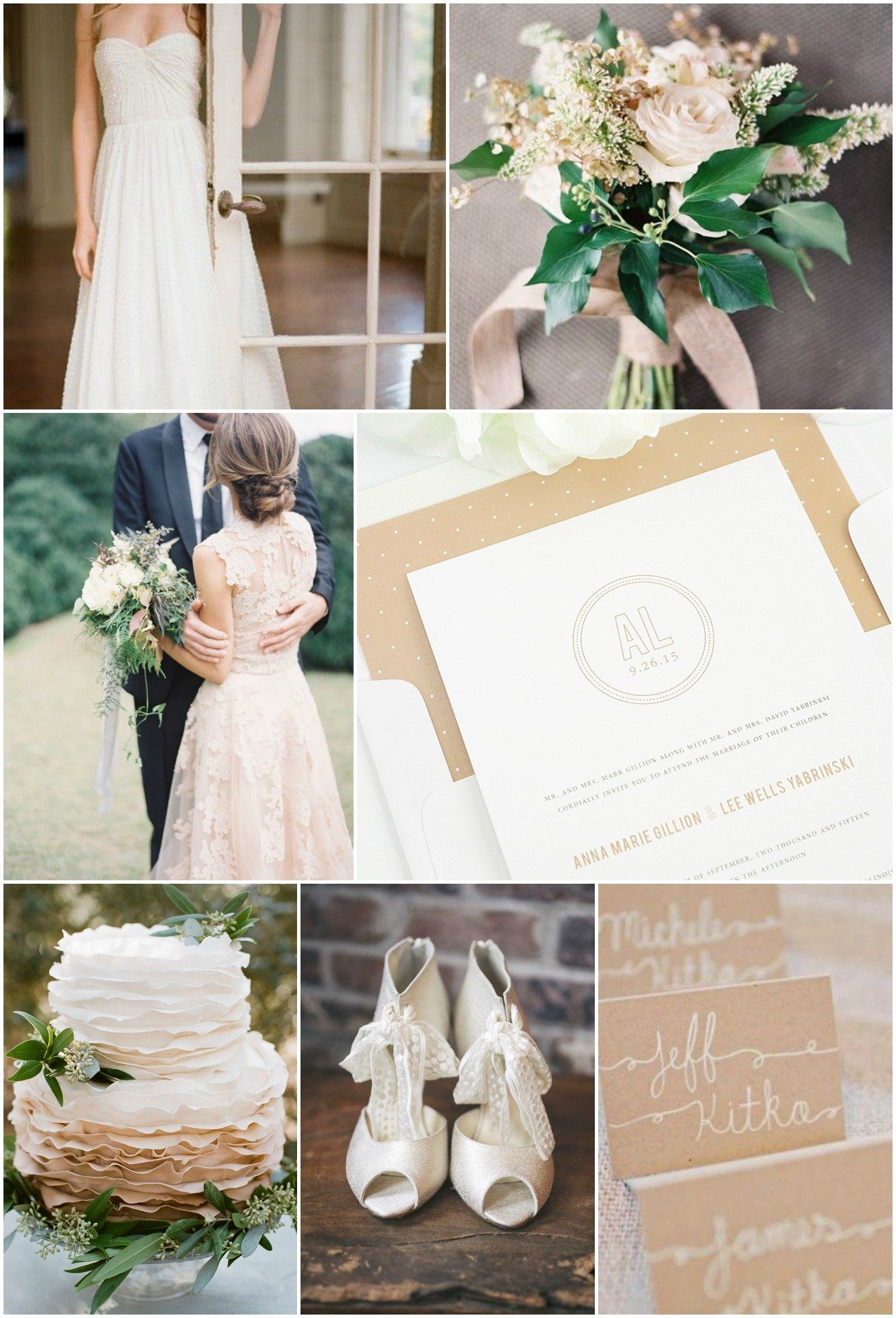 neutral wedding inspiration with kraft and green accents
