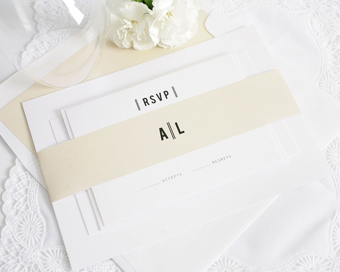 Neutral wedding invitations with lines