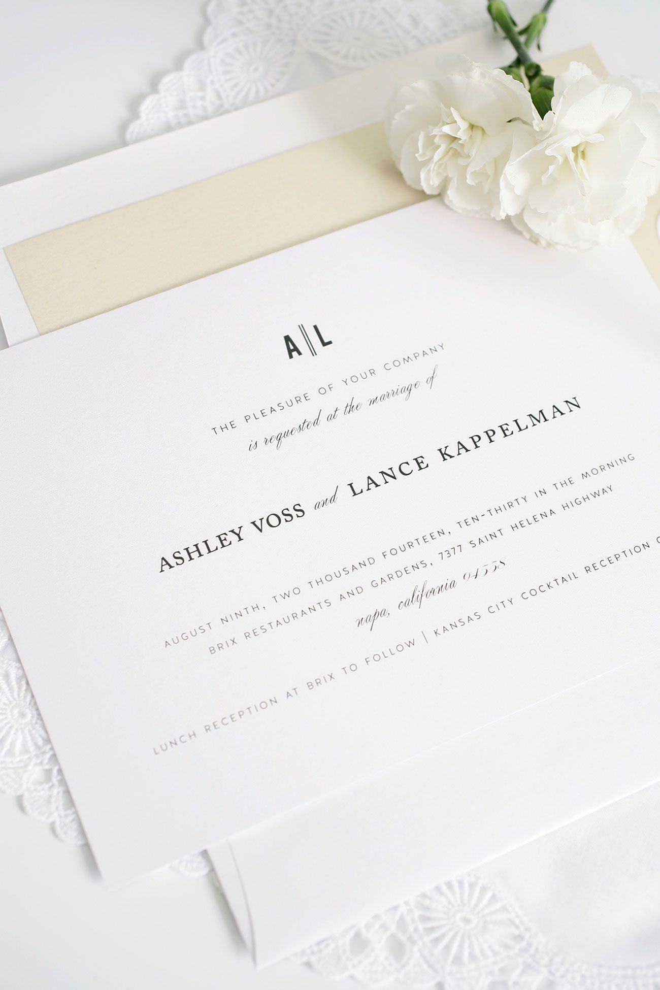 Simple Wedding Invitation In Champagne Vintage Neutral Wedding Invitations  ...