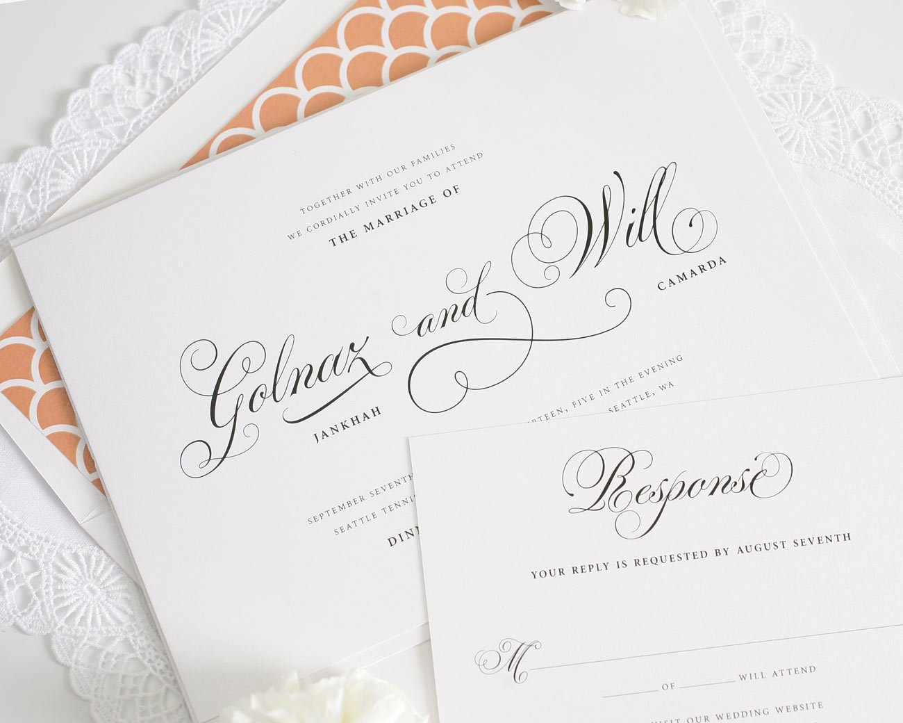 Peach scallop wedding invitations