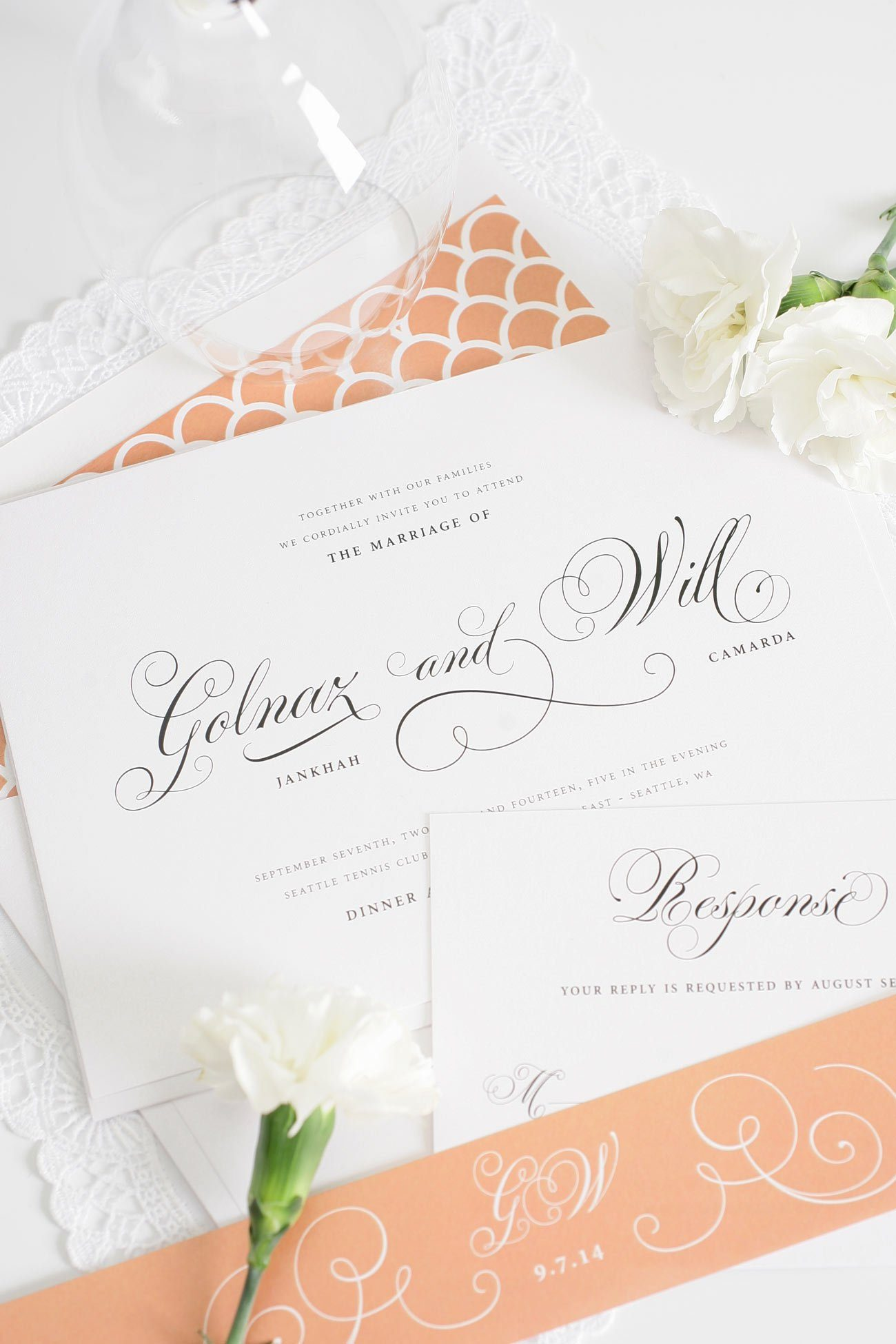 Peach wedding invitations with elegant script