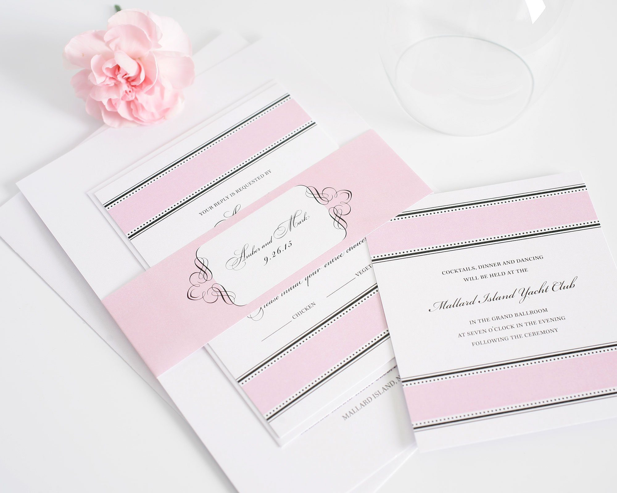 Blush pink 1920s wedding invitations