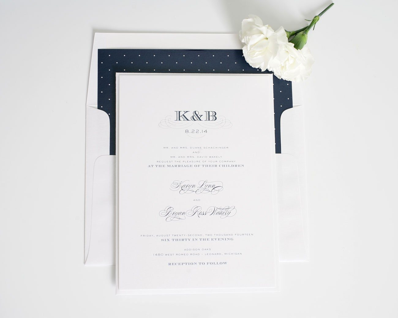 Polka Dot wedding invitations in navy