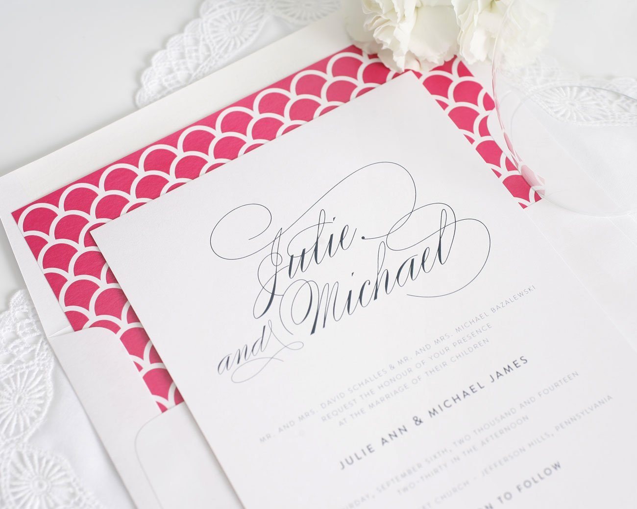 elegant hot pink and navy wedding invitations