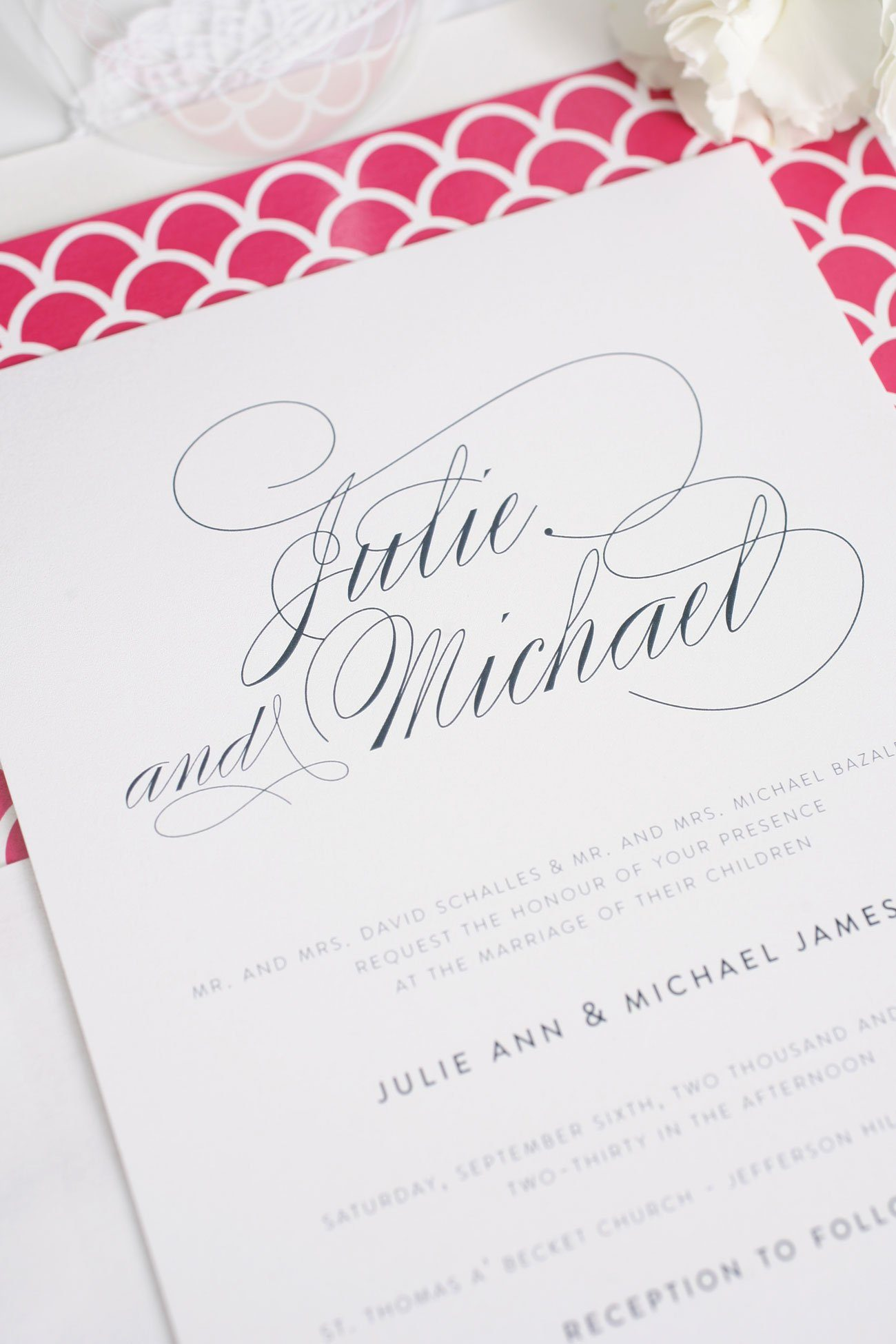 Hot pink and navy wedding invitations