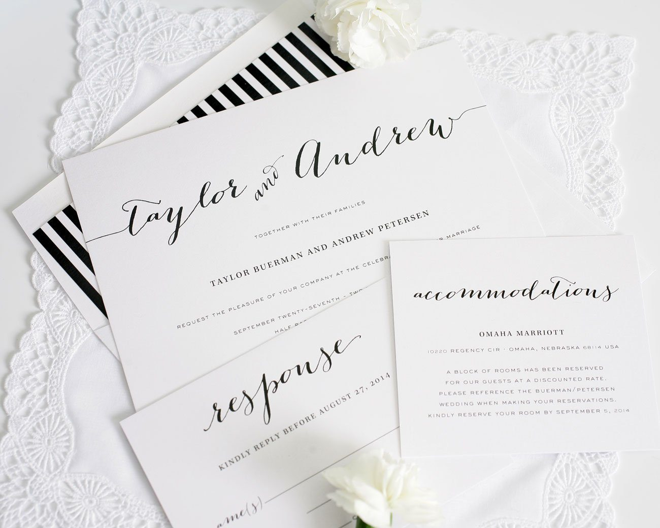 Black and White striped script wedding invitations