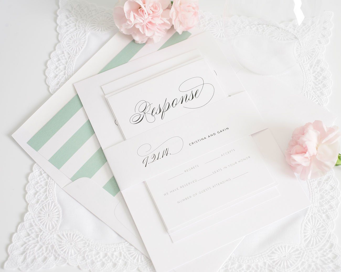 Script wedding invitations in jade