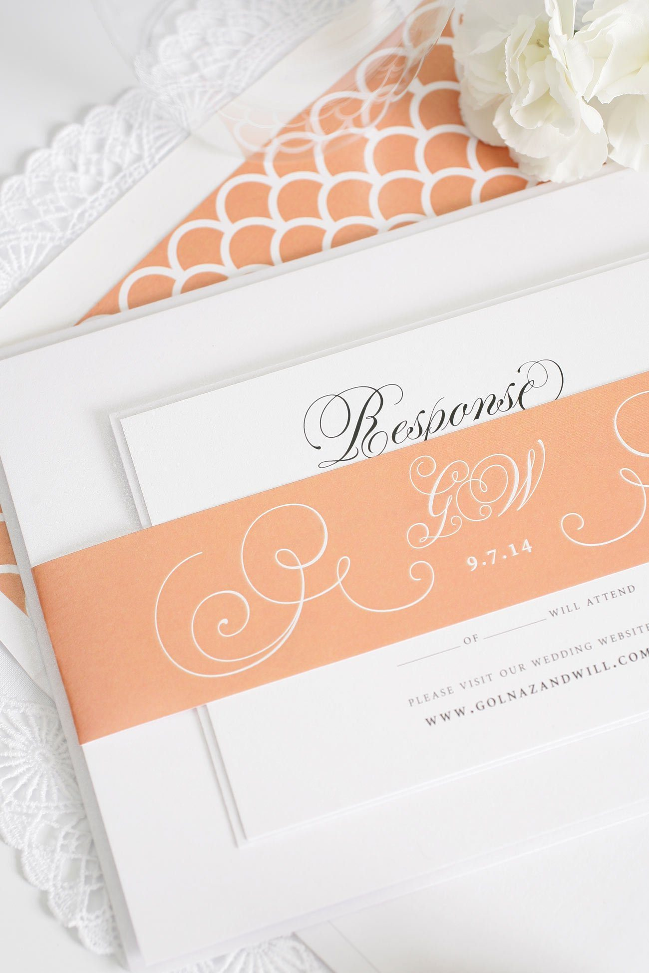 Peach wedding invitations with shells envelope liner