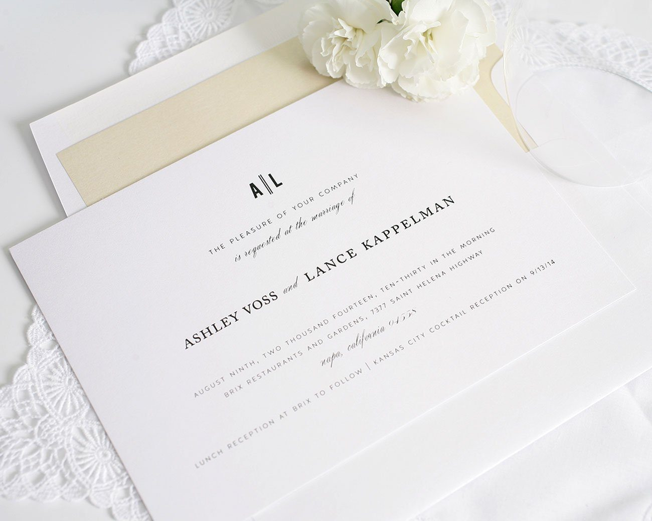 Simple wedding invitation in champagne